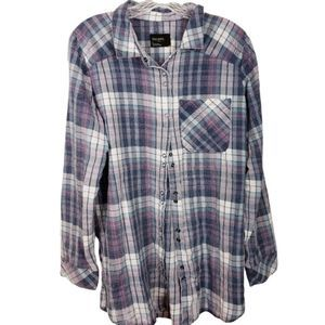 Free Press Factory Distresssd Flannel Snap Button